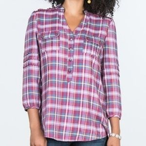 Matilda Jane Plaid All Day Millie Shirt Size S